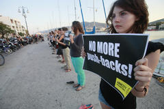 """International Human Rights Camp 2013"" in Lesvos, Greece, July 2013."
