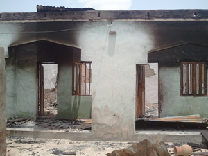 Burnt house, Zannari, Maiduguri