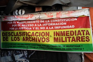 banner calling for full access to military archives from military regimes in Bolivia (1964-82)