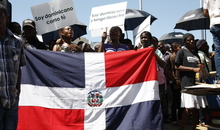Dominicans of Haitian descent demonstrating for their rights