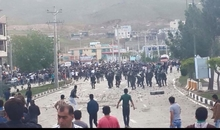 Protests in Mahabad, a Kurdish-populated city in western Iran, on 7 May 2015. It was repressed by police in riot gear who used tear gas and reportedly live ammunition.
