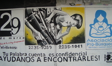 "Pro-B?squeda mural, San Salvador. Pro-B?squeda works to locate children ""disappeared"" during El Salvador's internal armed conflict and to campaign for truth, justice and reparation in these cases."
