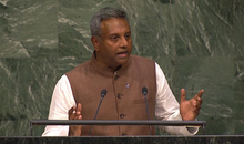 Amnesty International?s Secretary General, Salil Shetty addresses world leaders at the United Nations in New York on the 25 September 2015