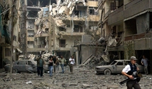 The aftermath of Israeli air bombardments, Beirut, 21 July 2006.