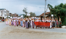 Women's group take part in an AI India protest march, Imphal, Manipur; calling for the repeal of the 'Armed Forces Special Power Act, 1958' (AFSPA). The march was part of the ongoing campaign to repeal the AFSPA. This women's group protested naked in front of Kangla Fort against the alleged rape, torture and murder of a local woman, Thangjam Manorama, by paramilitary soldiers in the northeastern Indian state of Manipur, July 2004 - see ADAM ID:4736.