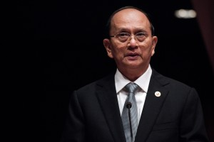 Myanmar President Thein Sein delivers a speech at the United Nations during the Economic and Social Commision for Asia and the Pacific (ESCAP) 69th Session of the Commission in Bangkok on April 29, 2013. ESCAP is held from 25 April to 1 May in Bangkok. AFP PHOTO/ Nicolas ASFOURI (Photo credit should read NICOLAS ASFOURI/AFP/Getty Images)