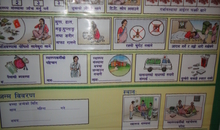 """The government of Nepal issues cards with guidance on what to do during pregnancy and danger signs to look for. This is a poster version of the information on what to do to help ensure a safe pregnancy. Photo taken in a """"birthing centre"""" built by an NGO in Mugu district."""