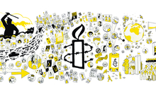 Illustration visualising the history and ongoing work of Amnesty International produced for the 'welcome to Amnesty' induction video which is also available on ADAM here: https://adam.amnesty.org/asset-bank/action/viewAsset?id=205279 High quality photograph of a large artwork which was wall mounted at the International Secretariat. It is a pen drawing (marker pens / sharpie) which illustrates elements of Amnesty International's history, it's output, both current and historic, the techniques it employs in research and fundraising and includes depictions of human rights violations and individuals helped by Amnesty. The Amnesty candle dominates at the centre of the drawing. Printed, it is a striking piece of artwork and can be reproduced at a very large scale.