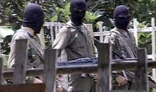 Colombian ELN guerrillas at camp, Antioquia, Colombia, video still.