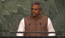 Amnesty International's Secretary General, Salil Shetty addresses world leaders at the United Nations in New York on the 25 September 2015