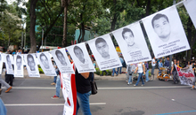 Demonstration in Mexico City 11 months after the enforced disappearance of 43 students in the town of Iguala, state of Guerrero. The students went missing after they were arrested by local police on 26 September 2014. They haven't been seen since.