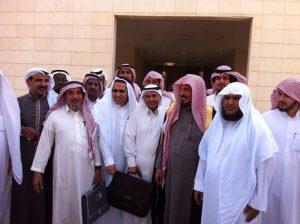 Front row, left to right: Dr Abdullah al-Hamid, Waleed Abu al-Khair, Dr Mohammad al-Qahtani, Sheikh Suliaman al-Rashudi, Dr Abdulkareem al-Khoder, following a trial session on al-Hamid and al-Qahtani, two members of the Saudi Civil and Political Rights Associatino (ACPRA)