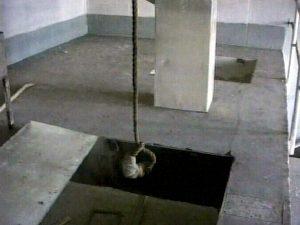 Noose hanging from ceiling, Abu Ghraib prison, Iraq, video still.