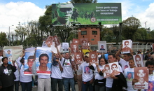 Ingrid Vergara of the National Movement of Victims of State Crimes (Movimiento Nacional de Víctimas de Crímenes de Estado, MOVICE) in the city of Sincelejo, Sucre department, northern Colombia, 2009. She is stood, at the front, fourth from the right.