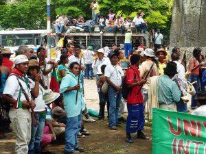 National 'Minga', Cali, Valle de Cauca department, 16 October 2009. Minga – a national process of mobilization and awareness-raising.