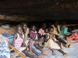 A displaced family living in a cave in Kurchi locality, Southern Kordofan, Sudan, August 2011.