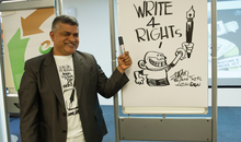 Zunar visited Amnesty head quoter and gave a lesson on drawing cartoons
