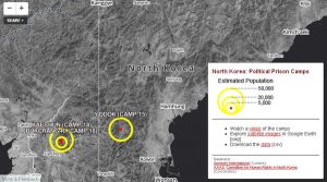 Satellite map with the location and details of North Korea's political prison camp system.